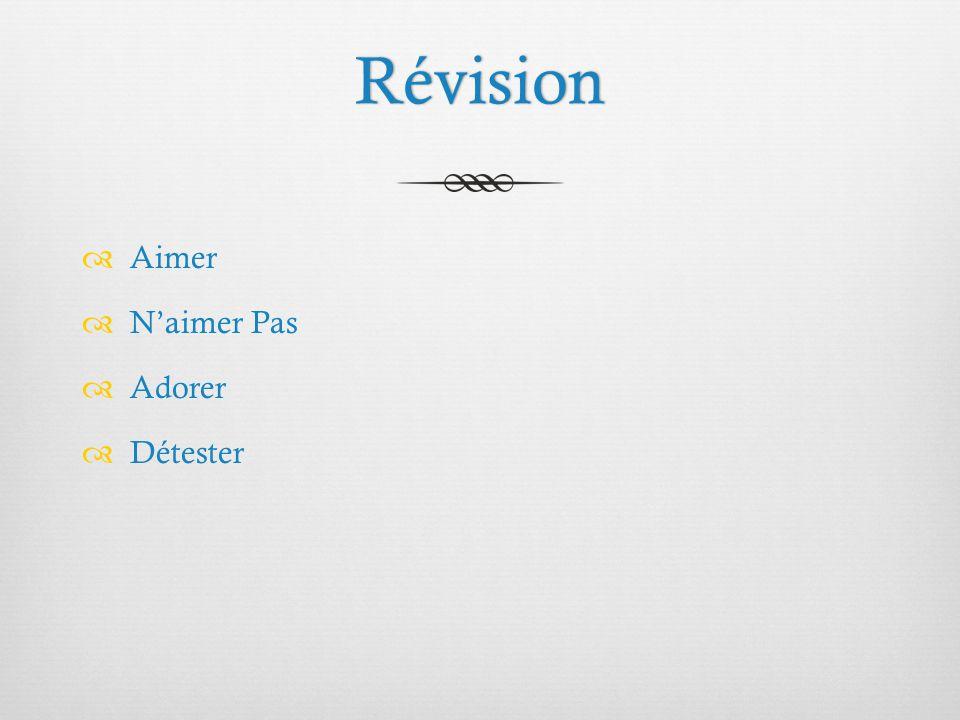 Révision  Aimer  N'aimer Pas  Adorer  Détester
