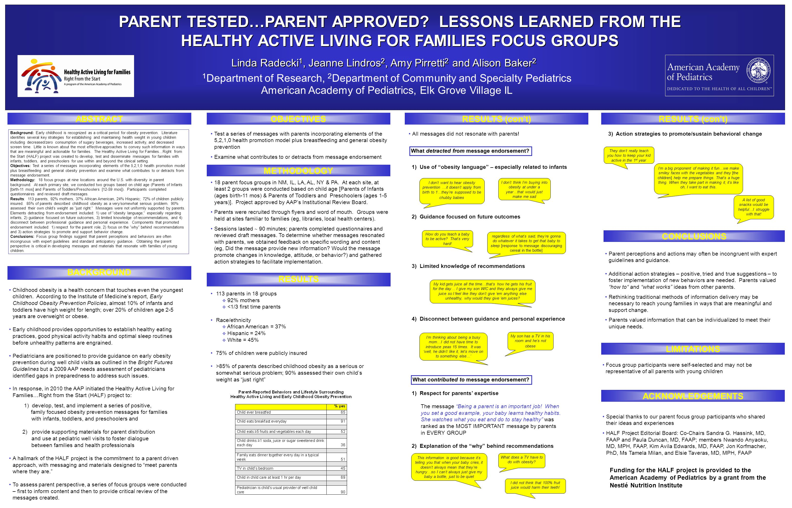 3) Action strategies to promote/sustain behavioral change PARENT TESTED…PARENT APPROVED.