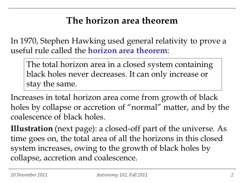 10 November 2011Astronomy 102, Fall 20112 The horizon area theorem In 1970, Stephen Hawking used general relativity to prove a useful rule called the horizon area theorem : Increases in total horizon area come from growth of black holes by collapse or accretion of normal matter, and by the coalescence of black holes.