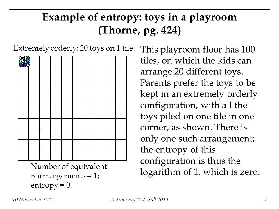 10 November 2011Astronomy 102, Fall 20117 Example of entropy: toys in a playroom (Thorne, pg. 424) Extremely orderly: 20 toys on 1 tile Number of equi