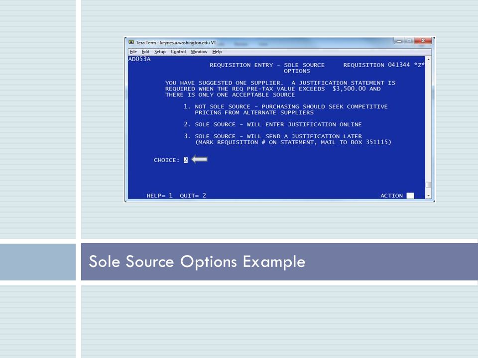 Sole Source Options Example