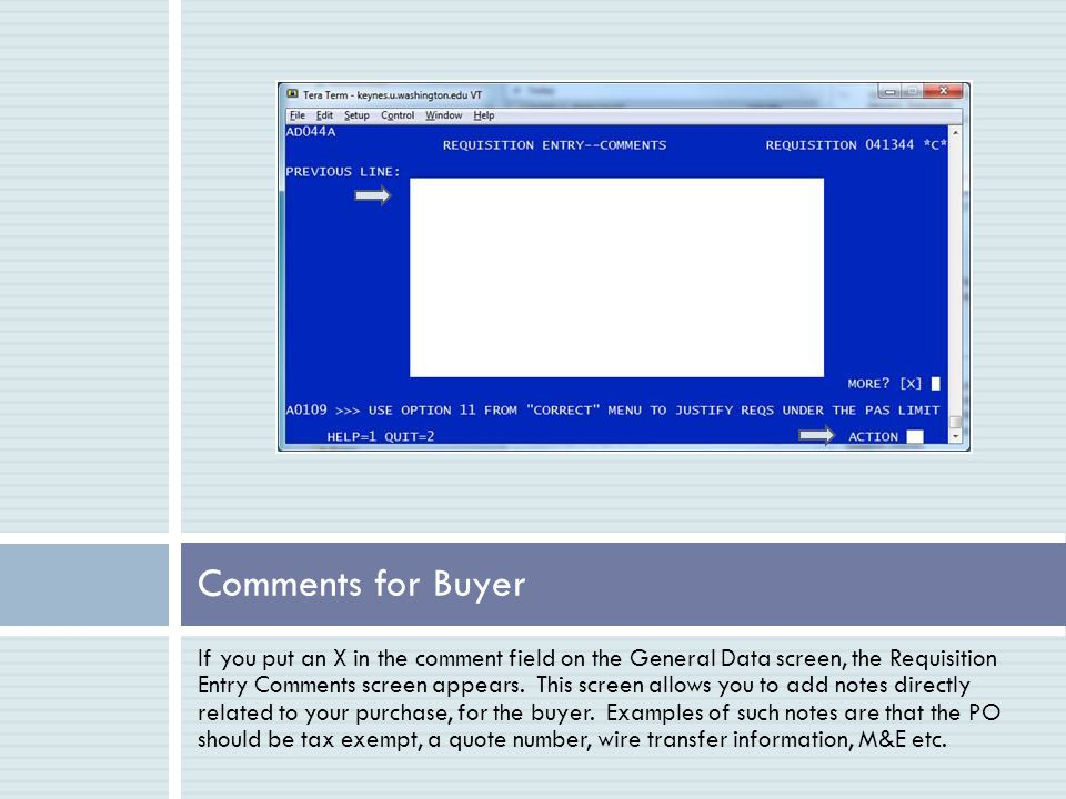 Comments Screen - Example