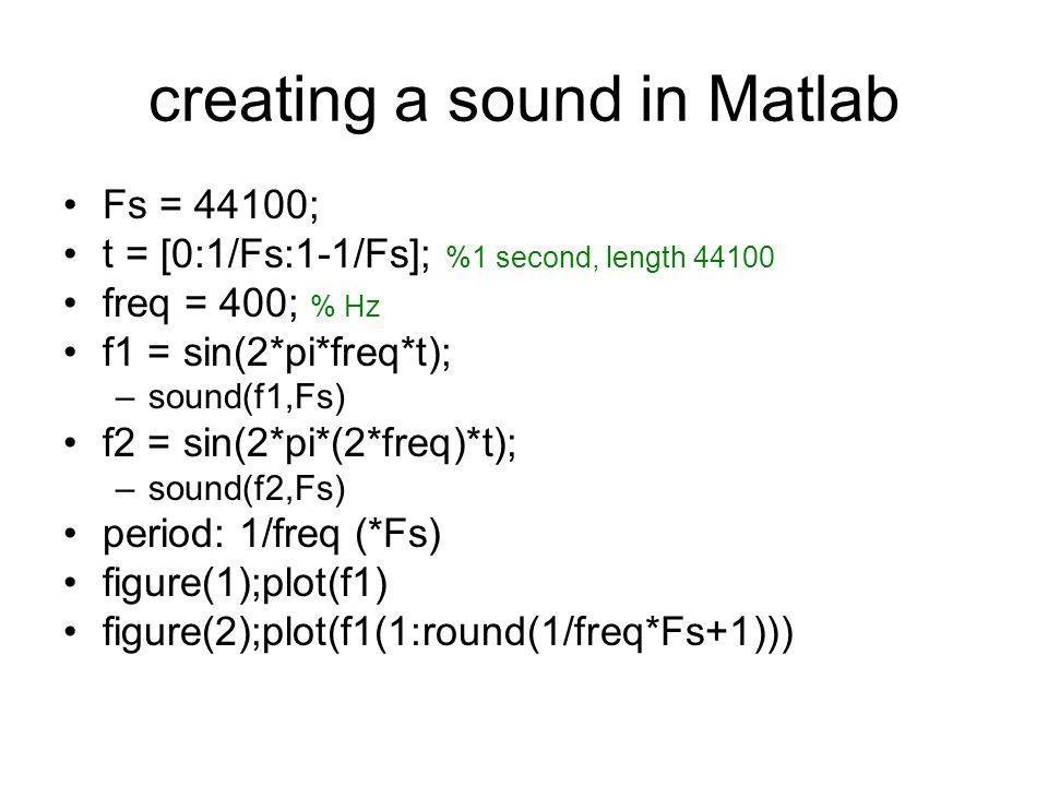 play consecutively –f12 = [f1 f2]; –sound(f12,Fs) play together/superimposed: –f_12 = [f1+f2]; or: –f_12 = sum([f1;f2]); –sound(f_12,Fs);