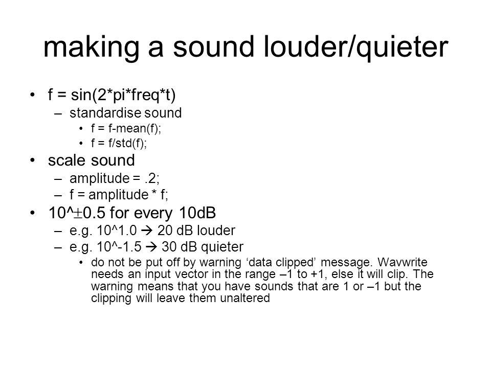 create noise y =.2*randn(1,Fs); sound(y,Fs)