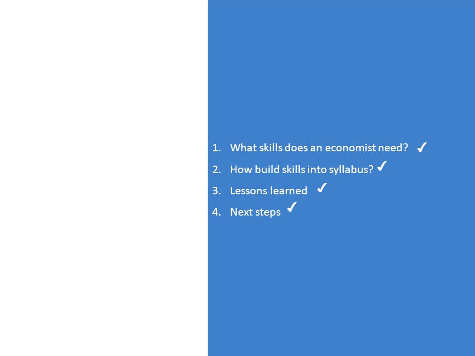 12 1.What skills does an economist need. 2.How build skills into syllabus.
