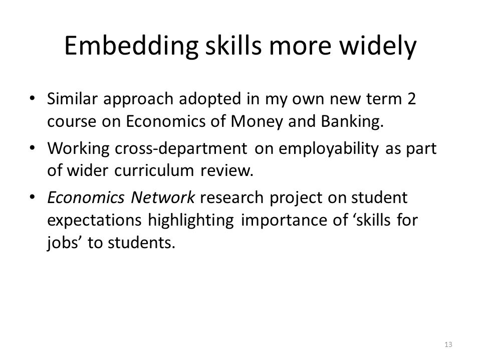Embedding skills more widely Similar approach adopted in my own new term 2 course on Economics of Money and Banking.