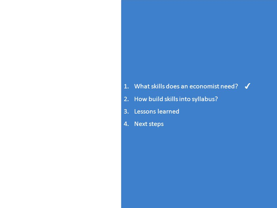 2 1.What skills does an economist need. 2.How build skills into syllabus.