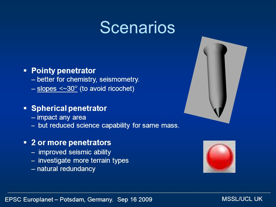 EPSC Europlanet – Potsdam, Germany. Sep 16 2009 MSSL/UCL UK Scenarios  Pointy penetrator – better for chemistry, seismometry. – slopes <~30  (to avo