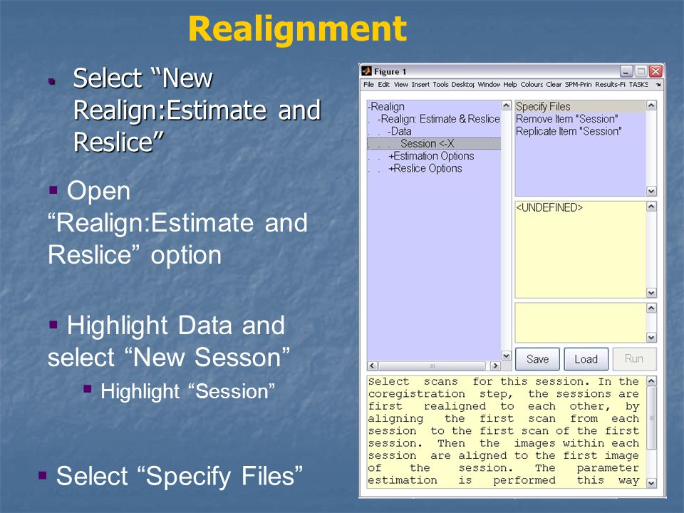  Select New Realign:Estimate and Reslice Realignment  Open Realign:Estimate and Reslice option  Highlight Data and select New Sesson  Highlight Session  Select Specify Files