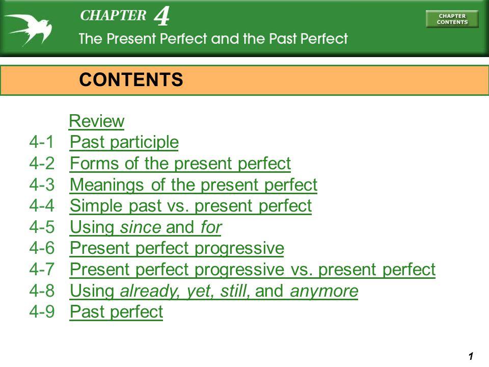 1 Review 4-1 Past participlePast participle 4-2 Forms of the present perfectForms of the present perfect 4-3 Meanings of the present perfectMeanings of the present perfect 4-4 Simple past vs.