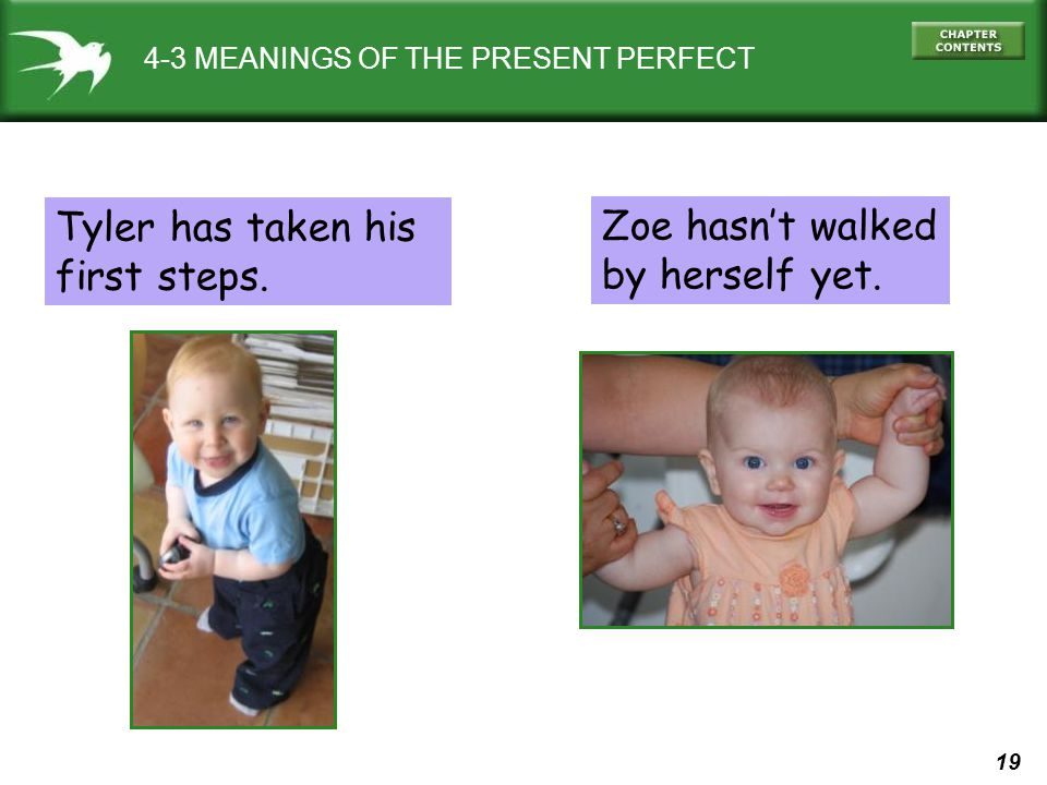19 4-3 MEANINGS OF THE PRESENT PERFECT Tyler has taken his first steps.