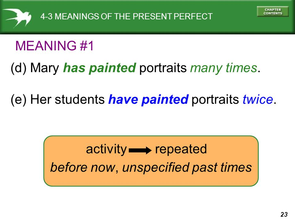 23 4-3 MEANINGS OF THE PRESENT PERFECT (d) Mary has painted portraits many times.