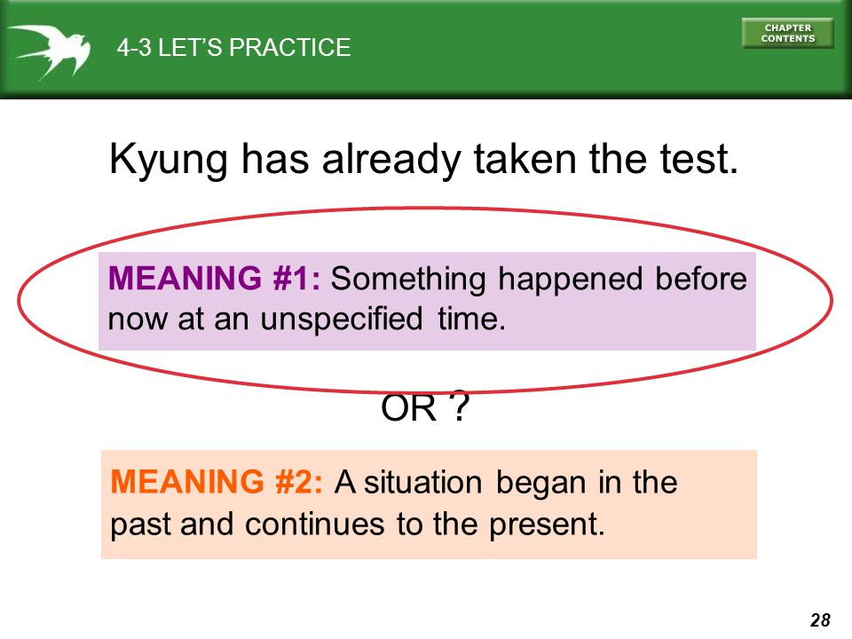 28 4-3 LET'S PRACTICE MEANING #1: Something happened before now at an unspecified time.