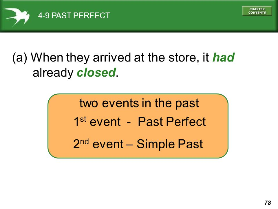 78 4-9 PAST PERFECT (a) When they arrived at the store, it had already closed.