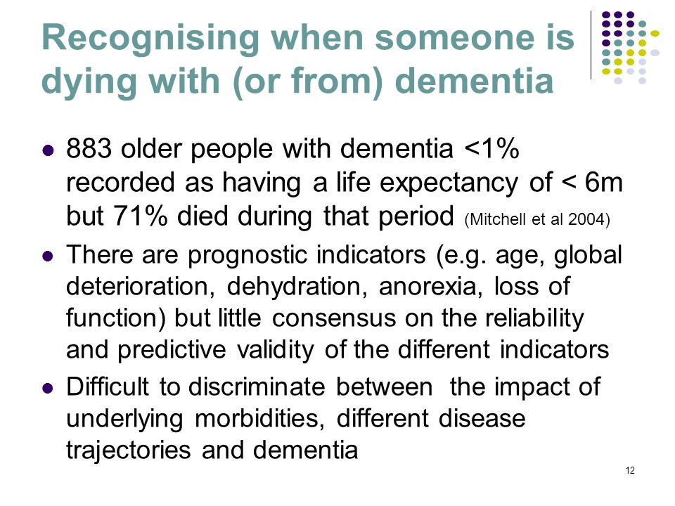 Recognising when someone is dying with (or from) dementia 883 older people with dementia <1% recorded as having a life expectancy of < 6m but 71% died during that period (Mitchell et al 2004) There are prognostic indicators (e.g.