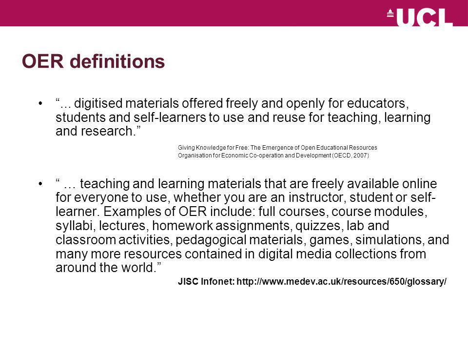 Major OER initiatives in HE (MIT) http://ocw.mit.edu/
