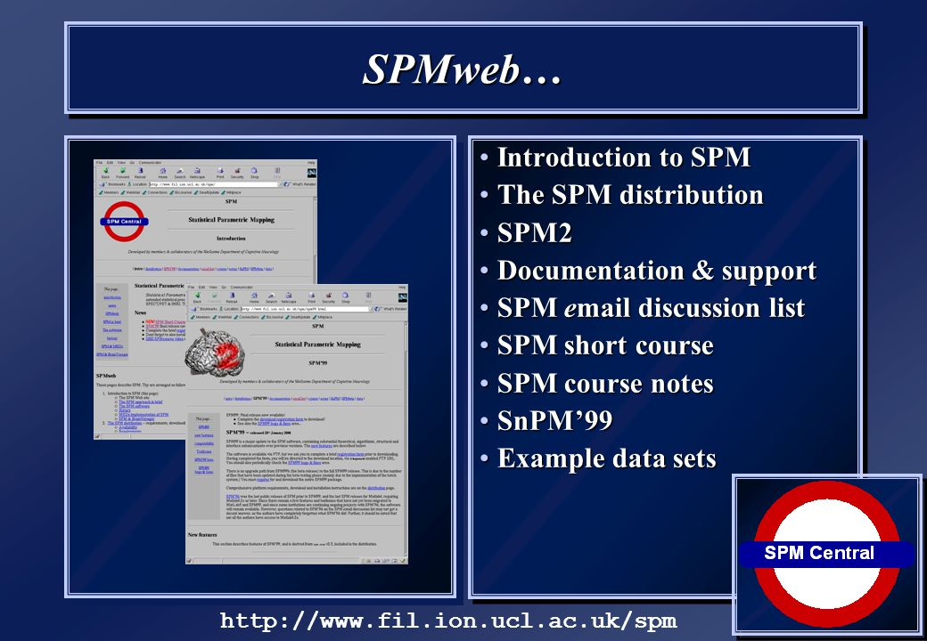 SPMweb… Introduction to SPMIntroduction to SPM The SPM distributionThe SPM distribution SPM2SPM2 Documentation & supportDocumentation & support SPM email discussion listSPM email discussion list SPM short courseSPM short course SPM course notesSPM course notes SnPM'99SnPM'99 Example data setsExample data sets http://www.fil.ion.ucl.ac.uk/spm