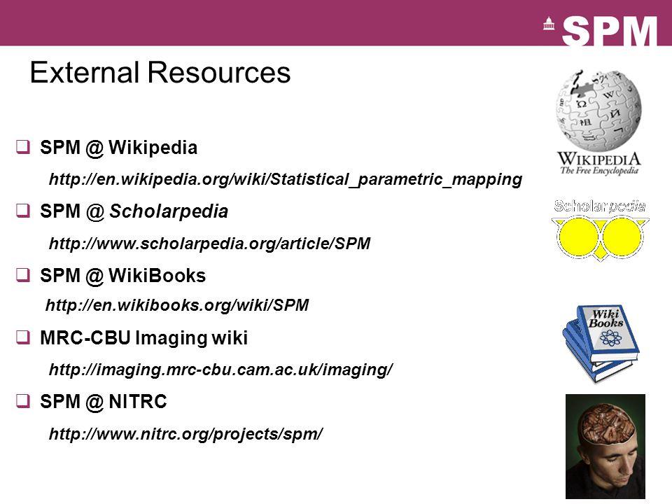 SPM Documentation Peer reviewed literature SPM Books: Human Brain Function I & II Statistical Parametric Mapping Online help & function descriptions SPM Manual