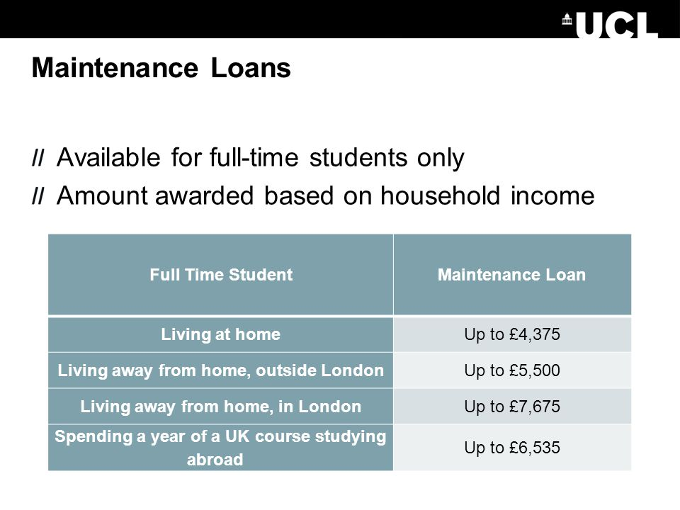 Maintenance Loans Full Time StudentMaintenance Loan Living at homeUp to £4,375 Living away from home, outside LondonUp to £5,500 Living away from home