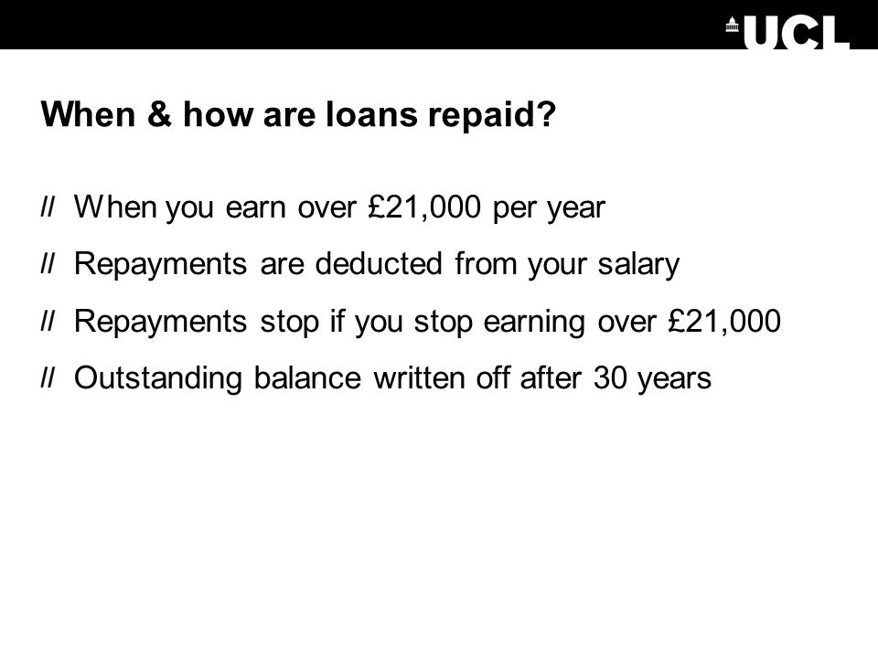 When & how are loans repaid.