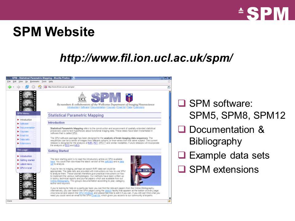 SPM Website  SPM software: SPM5, SPM8, SPM12  Documentation & Bibliography  Example data sets  SPM extensions http://www.fil.ion.ucl.ac.uk/spm/