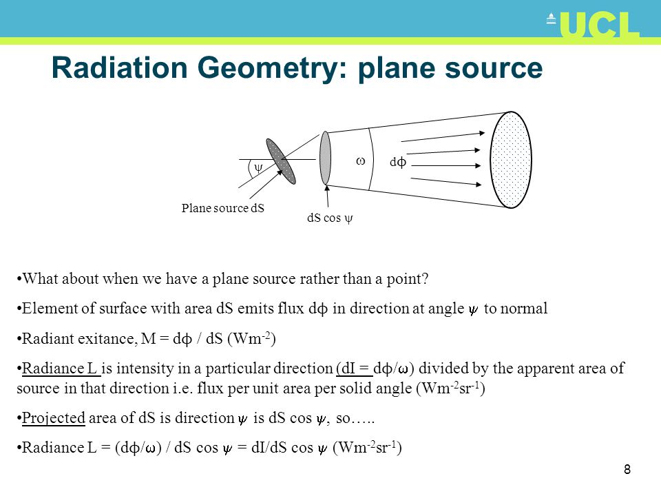 7 Radiation Geometry: point source dd dϕdϕ dAdA Point source r Consider flux d ϕ emitted from point source into solid angle d , where dF and d  ve