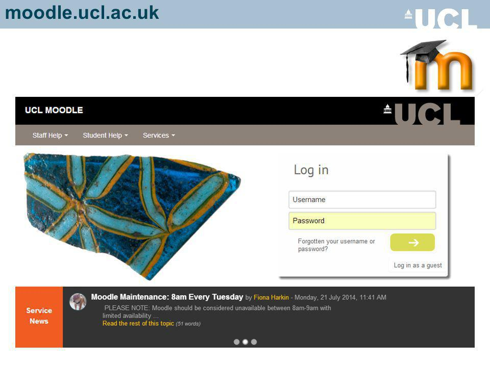 Scroll down to see the other course content In a course… 'Breadcrumb trail' - to navigate course and get back to UCL Moodle home page (My Home) moodle.ucl.ac.uk