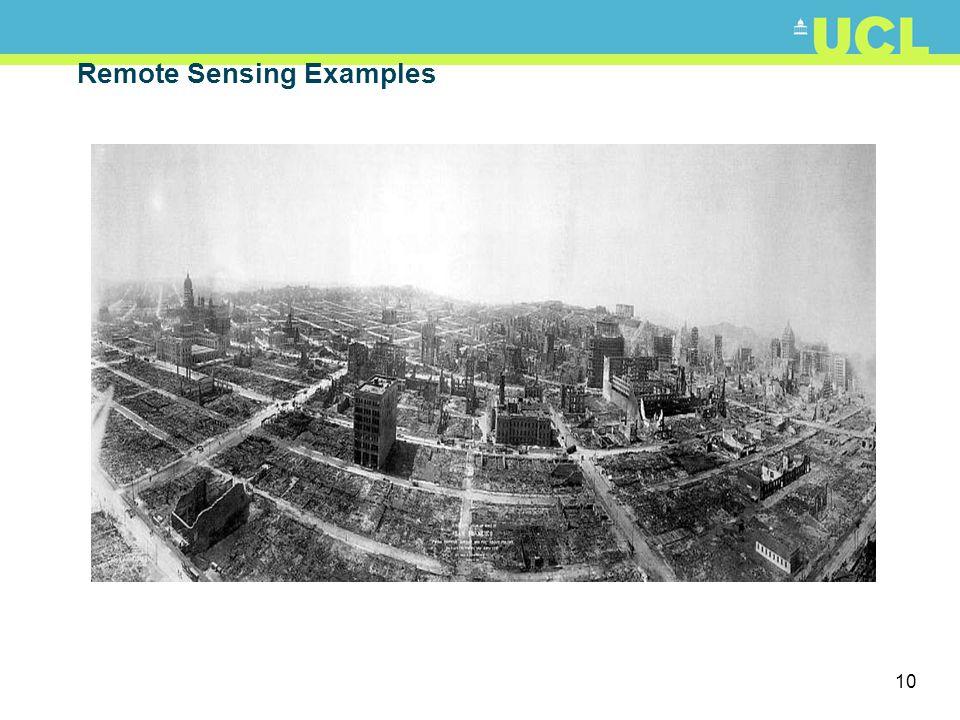 11 Remote Sensing: scales and platforms Both taken via kite aerial photography http://arch.ced.berkeley.edu/kap/kaptoc.html http://activetectonics.la.asu.edu/Fires_and_Floods/