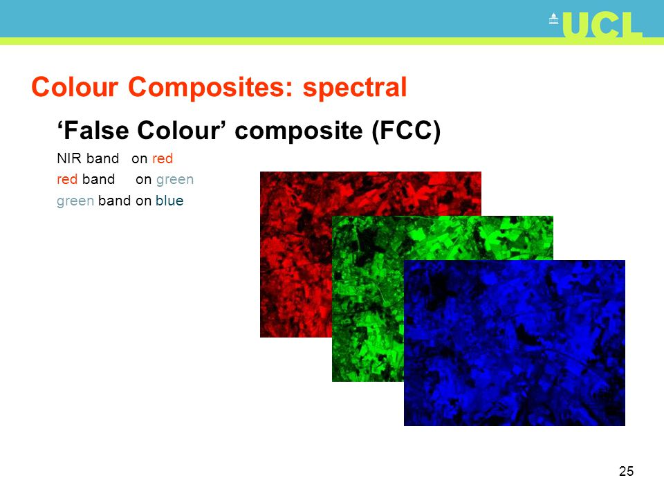 26 Colour Composites: spectral 'False Colour' composite NIR band on red red band on green green band on blue