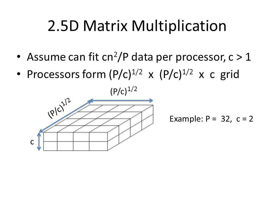 2.5D Matrix Multiplication Assume can fit cn 2 /P data per processor, c > 1 Processors form (P/c) 1/2 x (P/c) 1/2 x c grid c (P/c) 1/2 Example: P = 32, c = 2