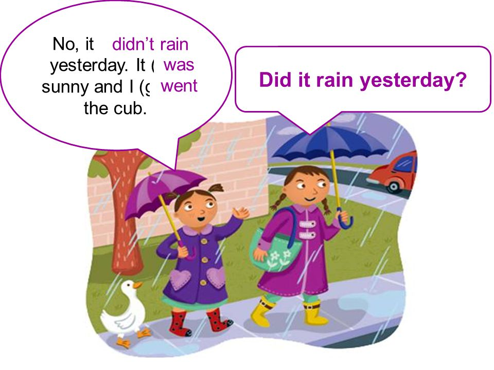 It / rain / yesterday? No, it (neg. rain) yesterday. It (be) sunny and I (go) to the cub. Did it rain yesterday? didn't rain was went