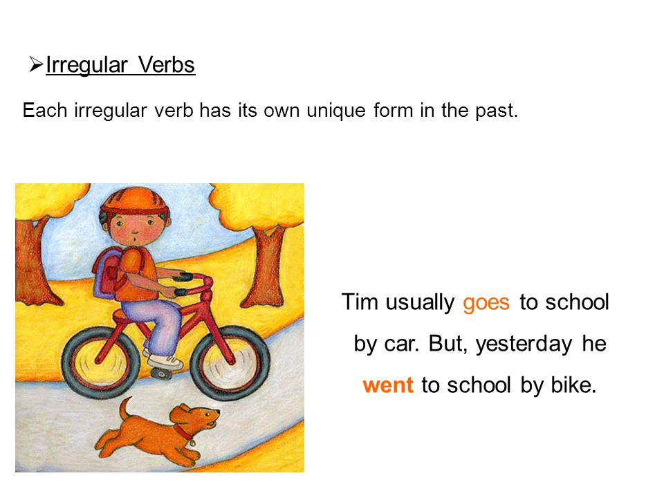  Irregular Verbs Each irregular verb has its own unique form in the past. Tim usually goes to school by car. But, yesterday he went to school by bike