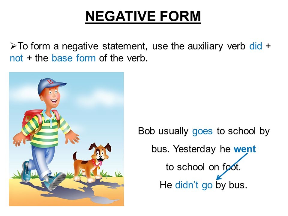 NEGATIVE FORM  To form a negative statement, use the auxiliary verb did + not + the base form of the verb. Bob usually goes to school by bus. Yesterd