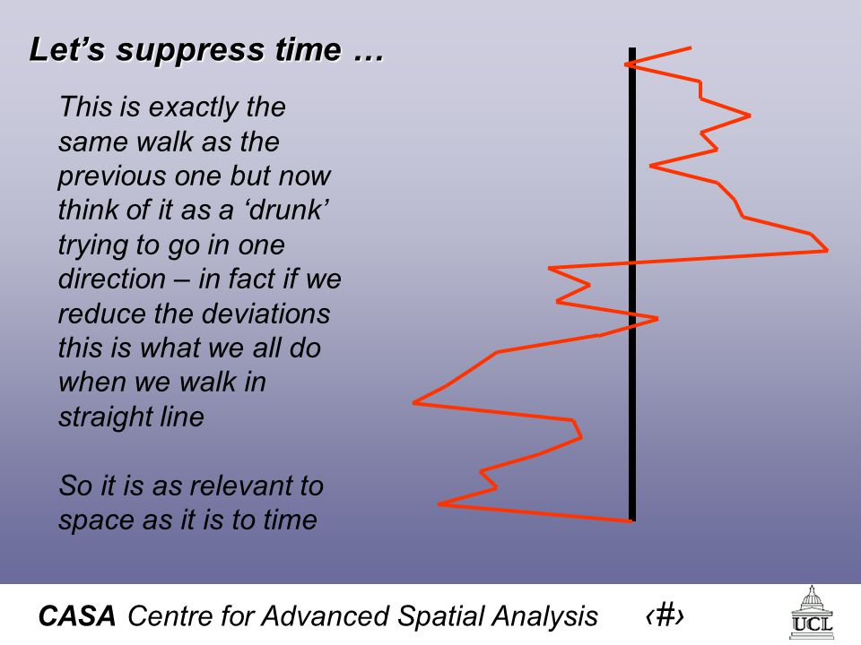 CASA Centre for Advanced Spatial Analysis 12 Let's suppress time … This is exactly the same walk as the previous one but now think of it as a 'drunk' trying to go in one direction – in fact if we reduce the deviations this is what we all do when we walk in straight line So it is as relevant to space as it is to time