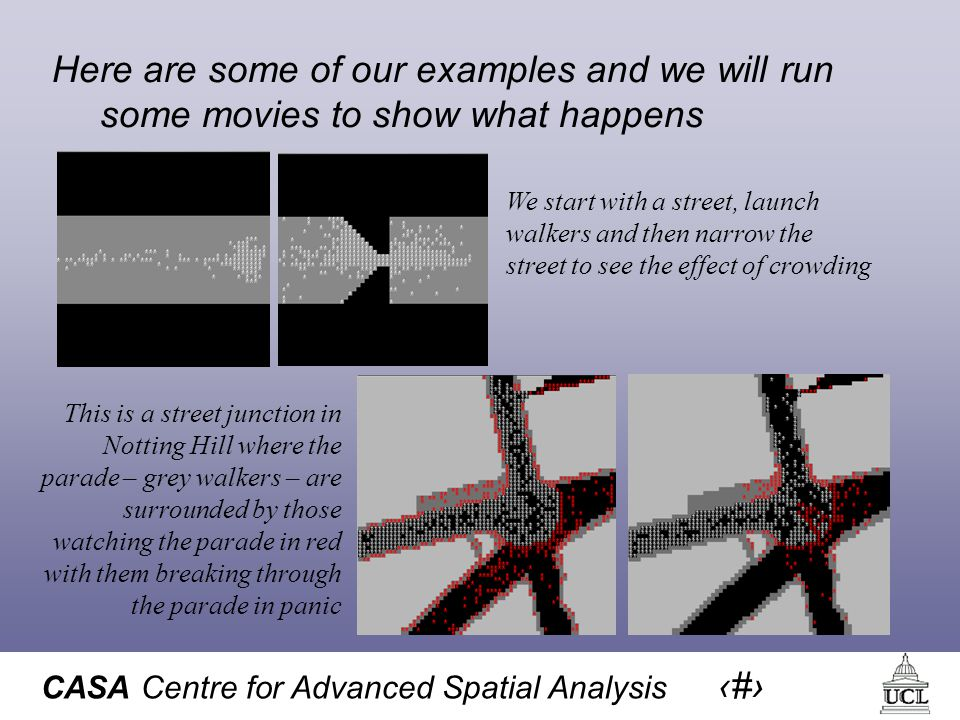 CASA Centre for Advanced Spatial Analysis 23 Here are some of our examples and we will run some movies to show what happens We start with a street, launch walkers and then narrow the street to see the effect of crowding This is a street junction in Notting Hill where the parade – grey walkers – are surrounded by those watching the parade in red with them breaking through the parade in panic