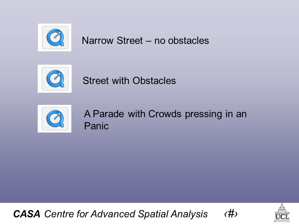 CASA Centre for Advanced Spatial Analysis 24 Street with Obstacles Narrow Street – no obstacles A Parade with Crowds pressing in an Panic