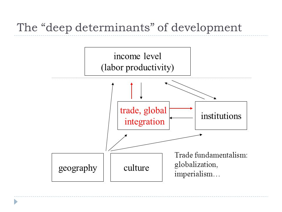 income level (labor productivity) institutions trade, global integration geography Trade fundamentalism: globalization, imperialism… culture The deep determinants of development