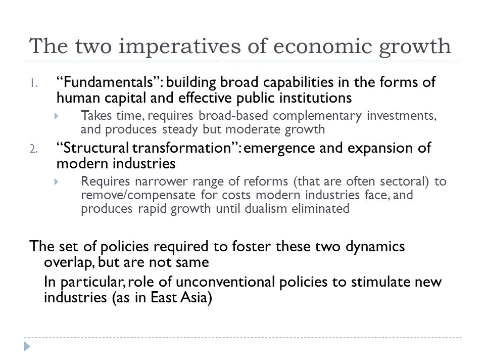 The two imperatives of economic growth 1.