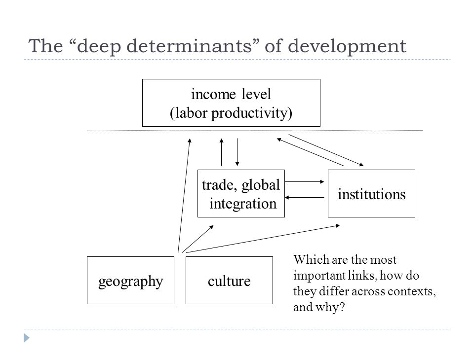 income level (labor productivity) institutions trade, global integration geography Which are the most important links, how do they differ across contexts, and why.