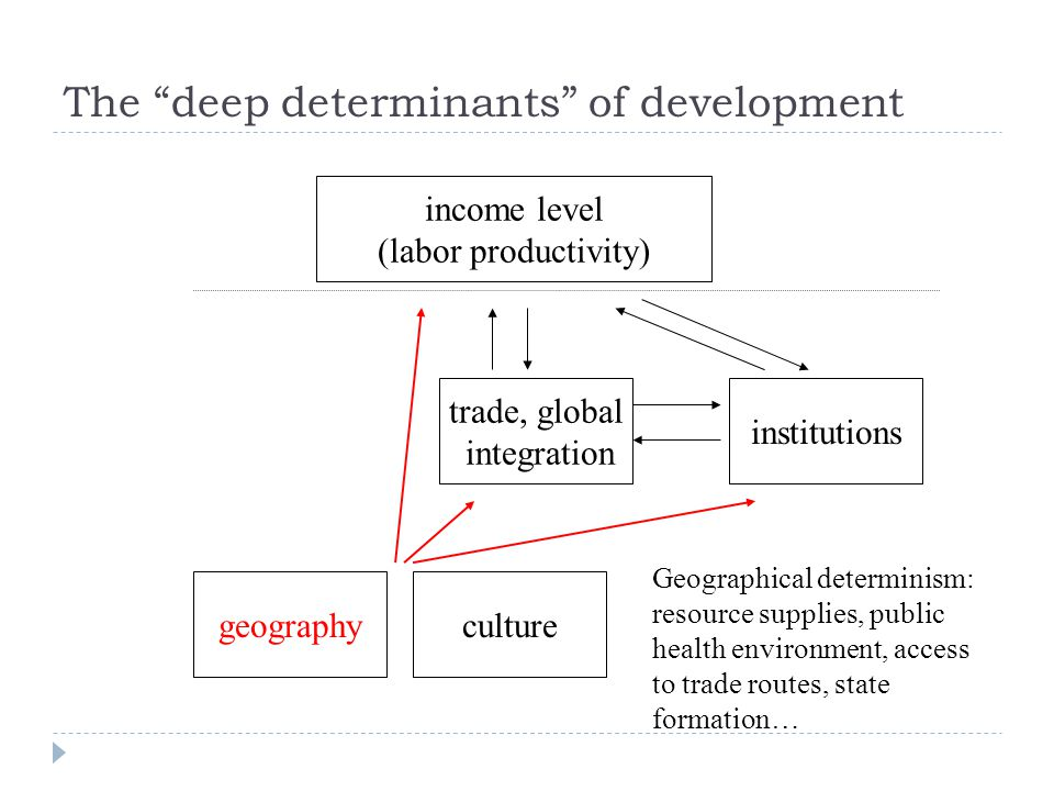 income level (labor productivity) institutions trade, global integration geography Geographical determinism: resource supplies, public health environment, access to trade routes, state formation… culture The deep determinants of development