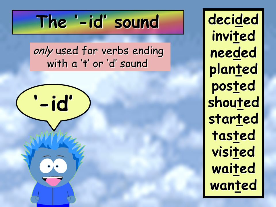 There are 3 ending sounds for past tense words… '-id' '-t''-d'