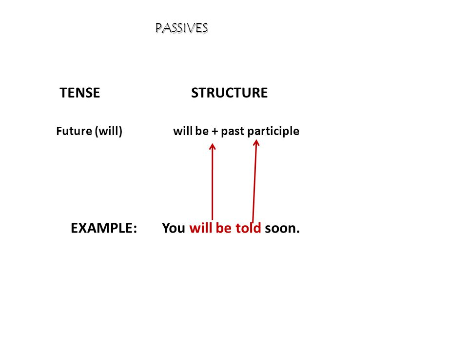 PASSIVES TENSESTRUCTURE EXAMPLE: Future (will)will be + past participle You will be told soon.