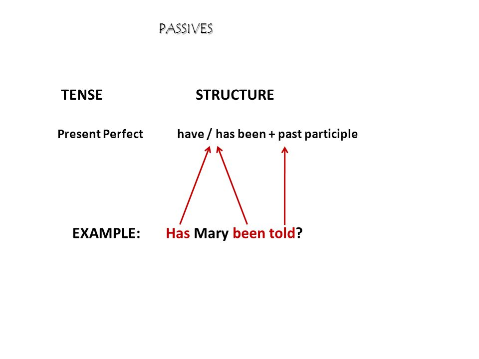 PASSIVES TENSESTRUCTURE EXAMPLE: Present Perfecthave / has been + past participle Has Mary been told