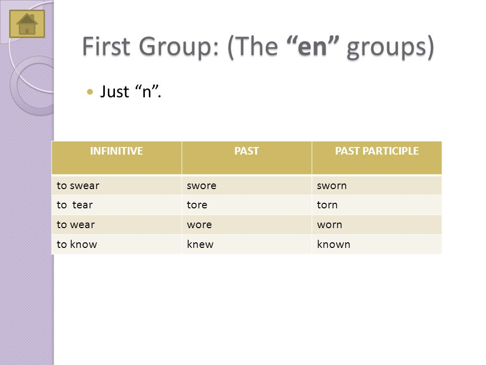 First Group: (The en groups) Just n .
