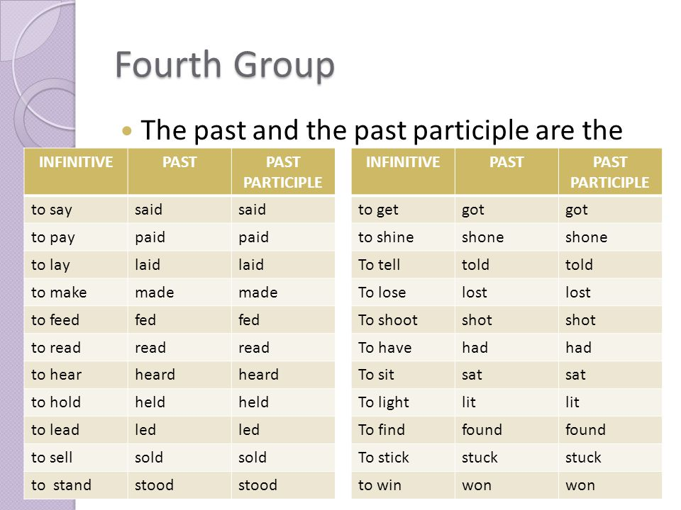 Fourth Group The past and the past participle are the same.