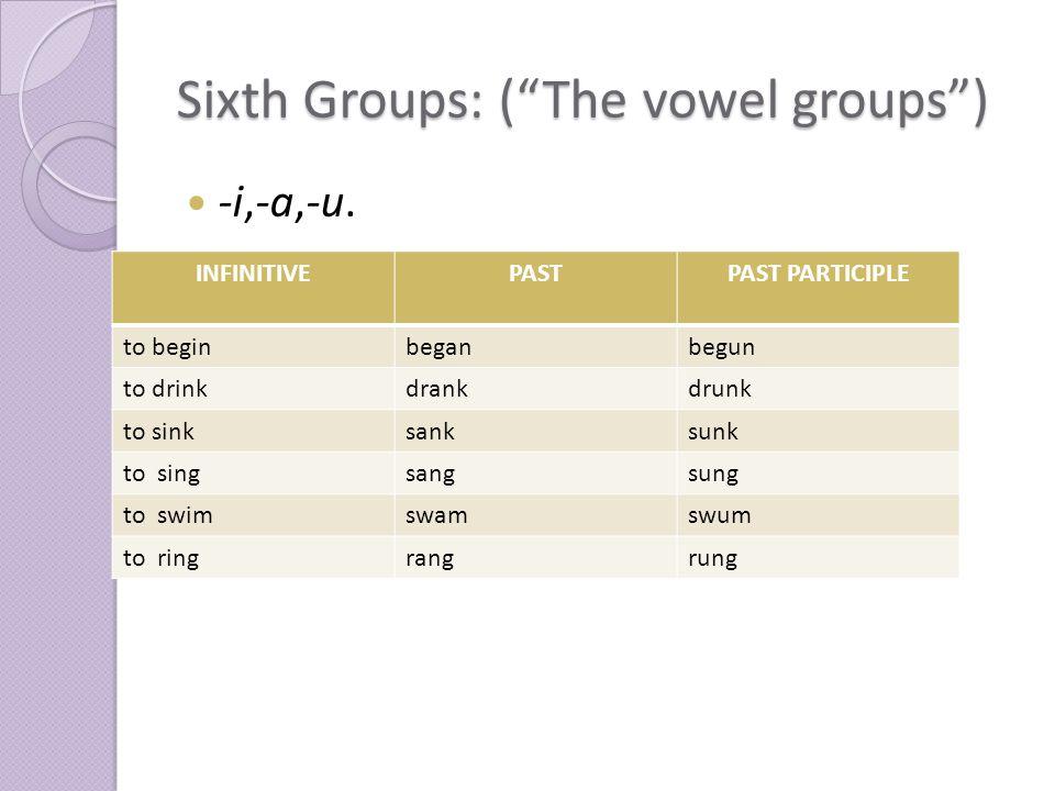 Sixth Groups: ( The vowel groups ) -i,-a,-u.