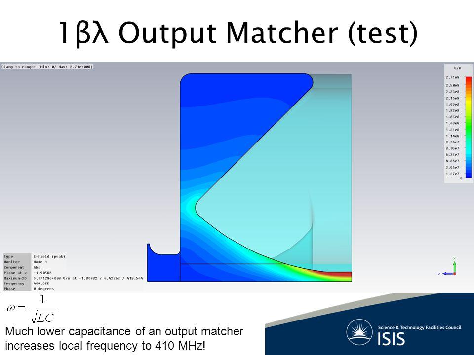 1βλ Output Matcher (test) Much lower capacitance of an output matcher increases local frequency to 410 MHz!