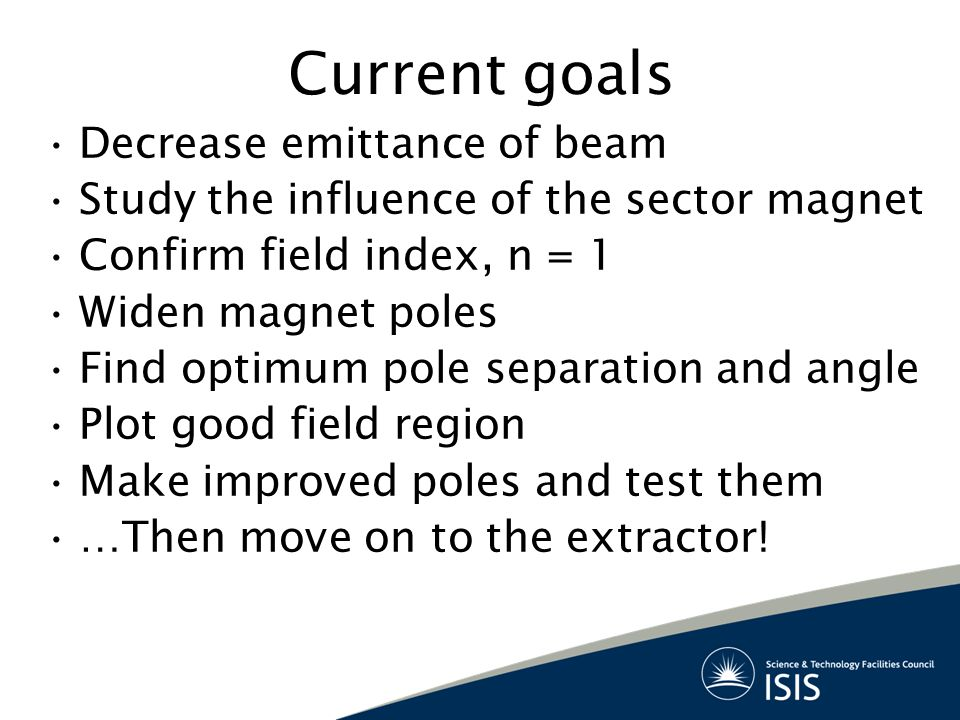 Current goals Decrease emittance of beam Study the influence of the sector magnet Confirm field index, n = 1 Widen magnet poles Find optimum pole separation and angle Plot good field region Make improved poles and test them …Then move on to the extractor!