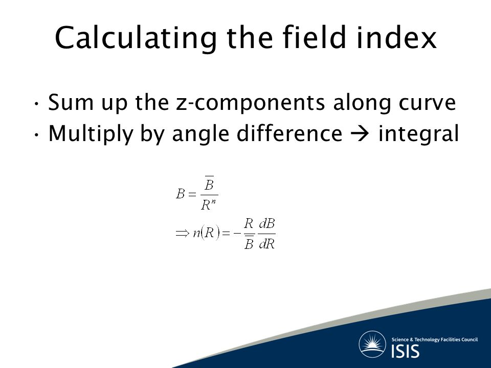 Calculating the field index Sum up the z-components along curve Multiply by angle difference  integral