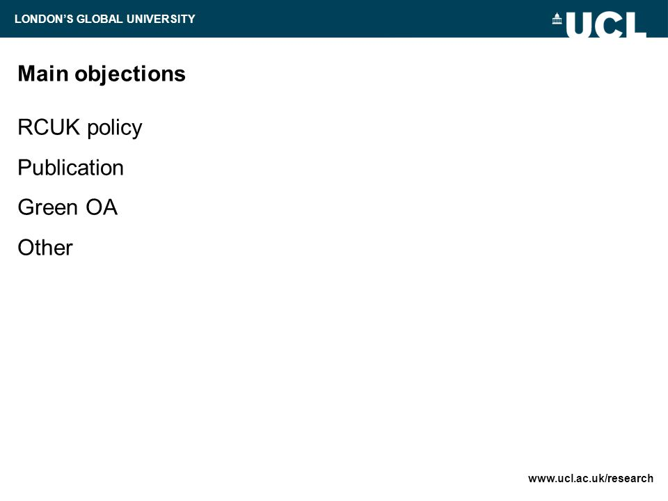 Main objections RCUK policy Publication Green OA Other   LONDON'S GLOBAL UNIVERSITY